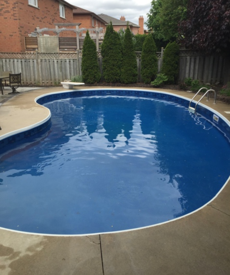 new pool liner in backyard swimming pool