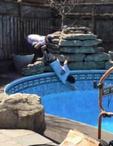 pool workers opening pool